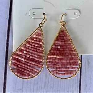 Target A New Day Beaded Pink and Gold Earrings